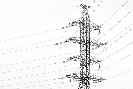 electric current: Metal construction of highvoltage power line pole