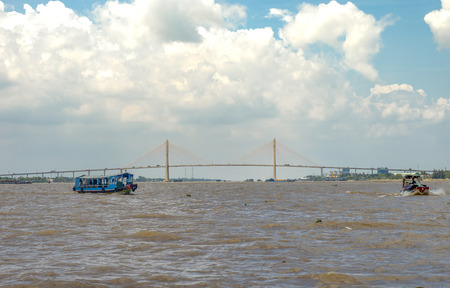 Cable-stayed My Thuan Bridge across the Mekong River in Vietnam