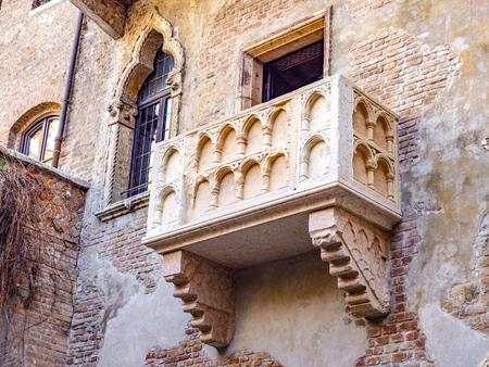 Juliet's famous balcony in Verona, Italy