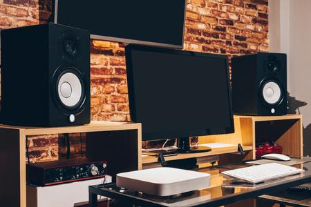 digital home entertainment & sound studio in modern lifestyle, audio & visual technology Stock Photo