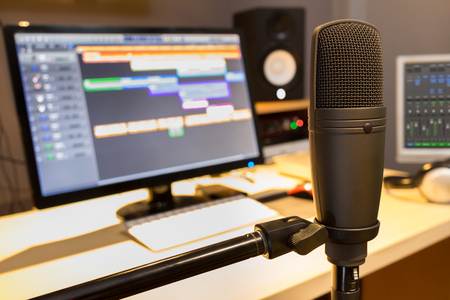 condenser microphone in radio broadcasting, home studio, voice actor, post production, digital editing system