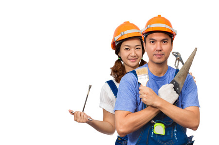 funny happy asian couple with repairing tools, isolated on white for Home Improvement, Renovation Set and DIY concept