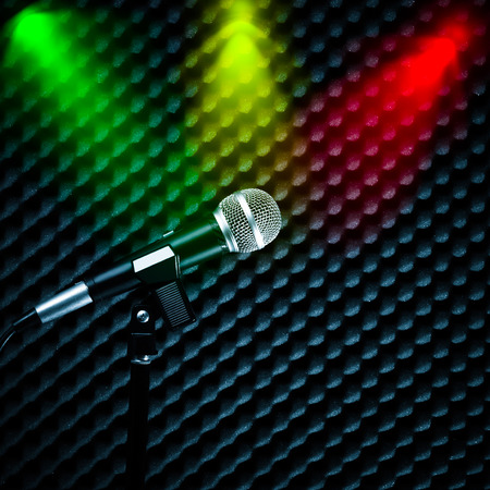 microphone & colorful spotlight, look like color of national flag Stock Photo