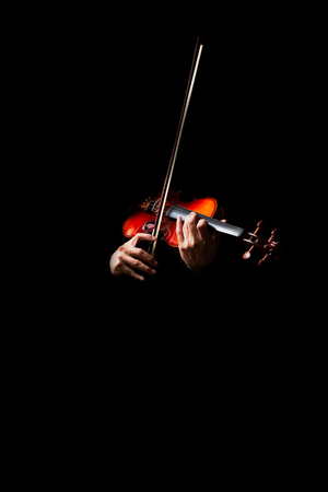 male musician hands playing classical violin