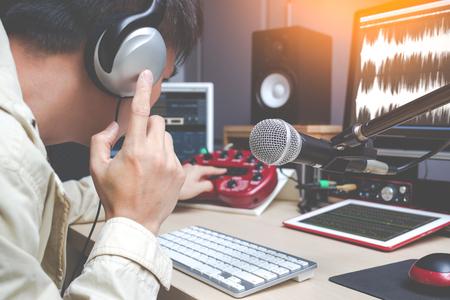 voice actor for tv program working in post production studio, DJ in radio broadcasting, sound engineer on digital editing equipment
