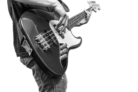 hand jamming: bass player, BW filter. isolated on white