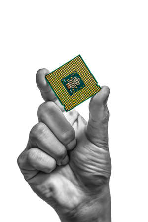 pci: hand holding CPU, isolated on white for technology background