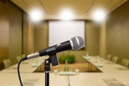 congress center: microphone in meeting room background Stock Photo