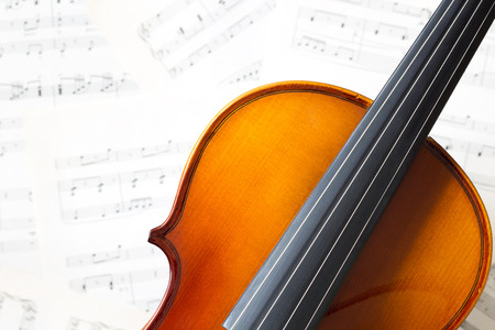 violin on music sheet Stock Photo