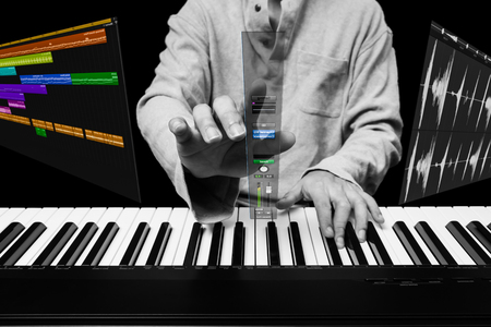 future music technology concept, male pianist or composer touch floating mixer page