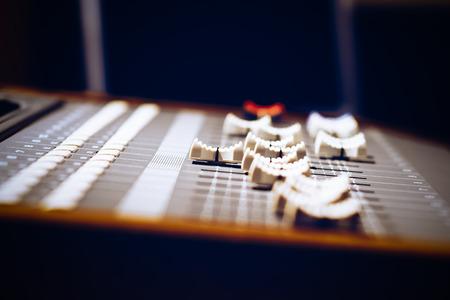 remix: sound mixer fader, shallow dept of field. music concept Stock Photo