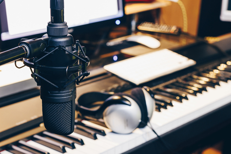 digital compose: condenser microphone in music production, digital recording studio