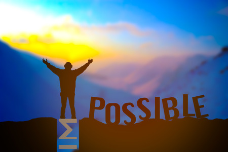 Man standing on impossible or possible over cliff on sunset background, Business concept idea