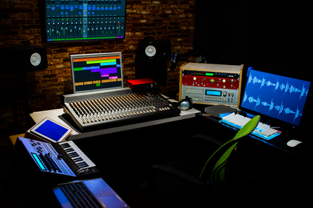 Professional Digital Recording Equipment In Sound Studio Music Editing Broadcasting Concept