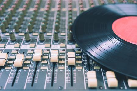 Record on sound mixer. Music background Stock Photo