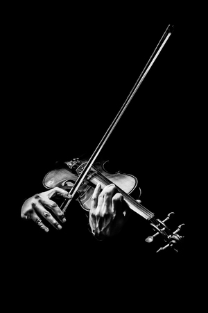 Männliche Geigerhände des Schwarzweiss, die Geige spielen, Musikhintergrund Standard-Bild