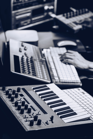 producer working in sound design studio. music production Stock Photo