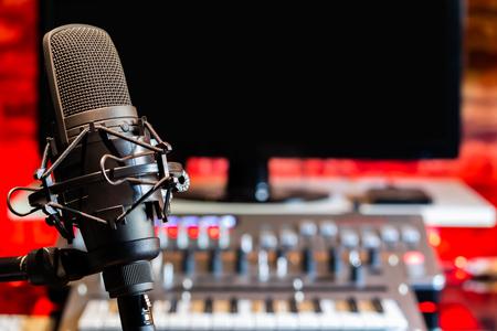 microphone on digital recording equipment in studio background Stock Photo