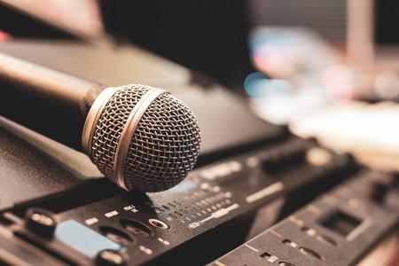 microphone on studio equipment. recording concept