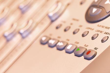 close up record button on recording studio equipment