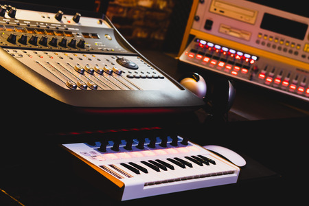 professional music production equipment in home studio