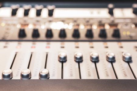 digital audio mixing console fader. recording, broadcasting, editing, post production concept Stockfoto