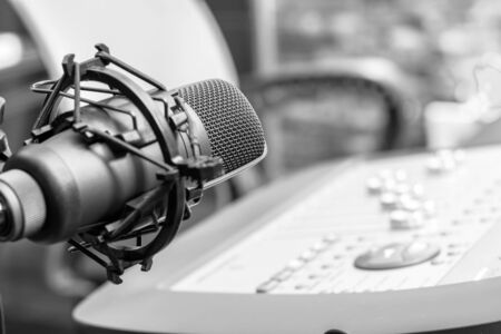 microphone in recording, broadcasting, editing studio Stockfoto