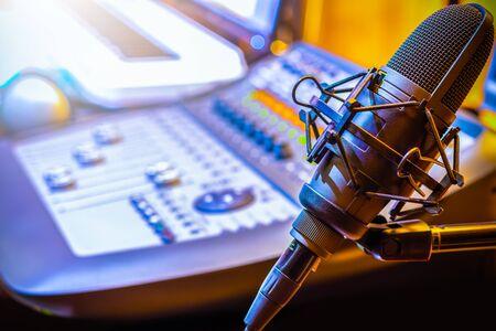 microphone in broadcasting, recording studio