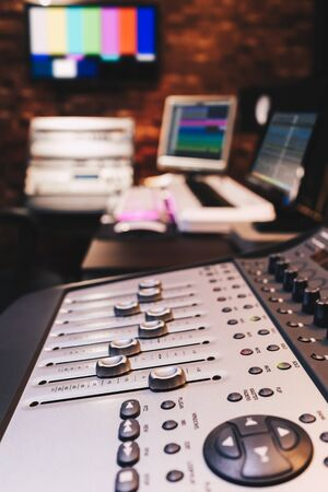 mixing console in recording, broadcasting studio