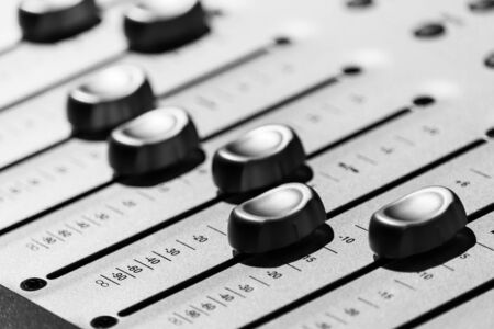 audio mixing console fader, close up