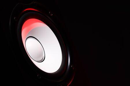white loudspeaker monitor on black background