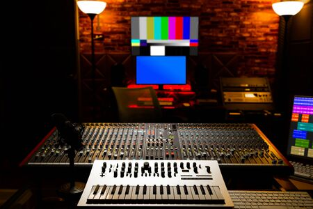 analog keyboard synthesizer in recording, broadcasting, editing studio