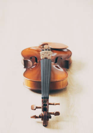 classical violin on wooden floor. music background
