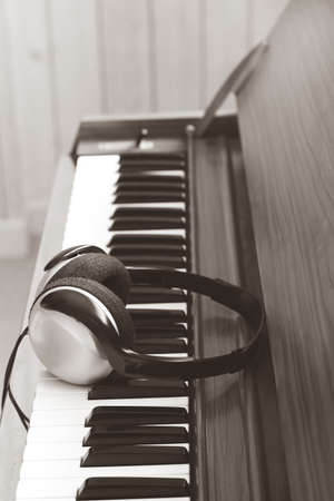 headphone on acoustic piano. music background