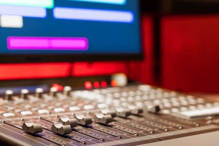 professional digital audio mixing console in broadcasting, recording studio