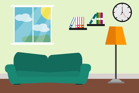 Interieurs kamer groene bank en lamp licht ruimte ontwerp.