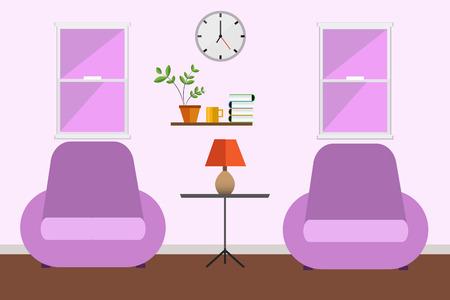living room design: living room pink design. Illustration