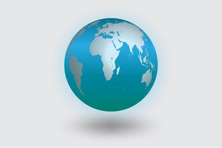 World icon blue color  vector color shadows.