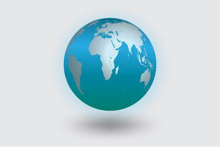 realist: World icon blue color  vector color shadows.