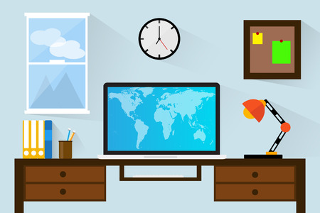 working place: Flat design vector illustration office for working. Illustration
