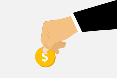 avarice: Male business hand Give dollar money for other business man. Illustration