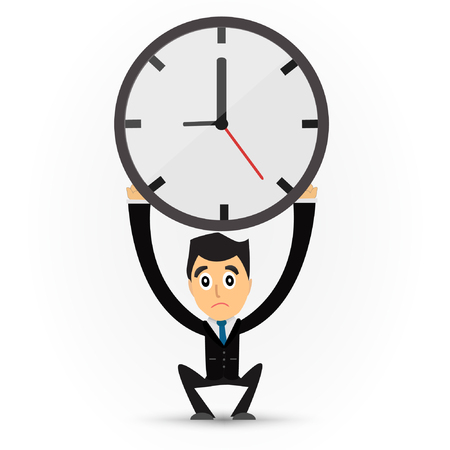 tried: Cartoon business man holding  a clock.