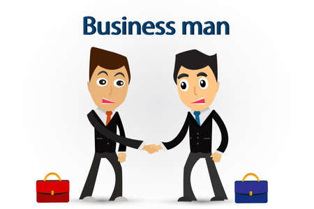 future business: Two business man shake hand to partner for future business.