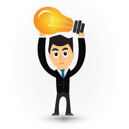 lamp light: Businessman cartoon raise lamp light.