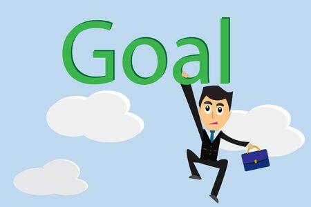 Cartoon businessman Step toward the goal.