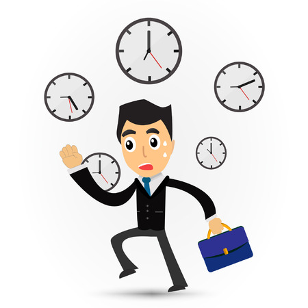 business time: Cartoon business man running for working. Illustration