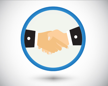 Logo shake hand in gray background. Stock Illustratie