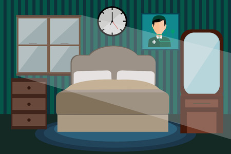 bed room: Font view bed room on  night time. Illustration