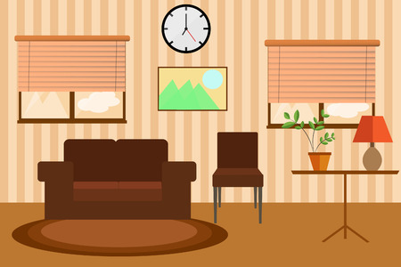 dine: Living room  windows sofa and clock  in Warm colors.