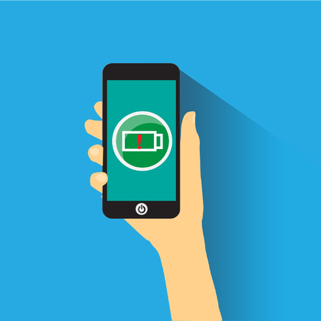 smart phone hand: Hand holding smart phone with icon.